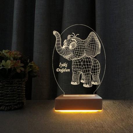 Yavru Fil Doğum Günü Hediyesi Gece Lambası İyiki Doğdun Yazılı Lamba