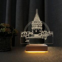 Sevgii Hediyesi Galata Kulesi Tasarımlı 3d Gece Lambası
