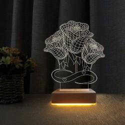 Sevgili Hediyesi 3Gül Tasarımlı Gece Lambası Seni Seviyoum Yazılı Lamba