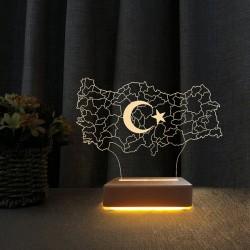 Türkiye Haritası Tasarımlı 3d Gece Lambası Masa Lambası
