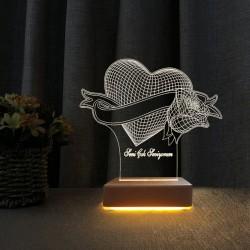 Sevgili Hediyesi Kalp Gül Gece Lambası Seni Seviyoum Yazılı Lamba