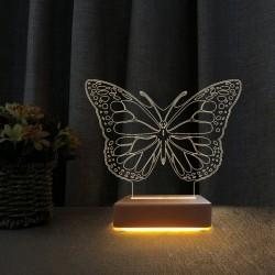 3d Ilizyon Led Lamba Masa Gece Lambası Kelebek  Çocuk Odası Gece Lambası