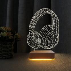 3d Ilizyon Led Lamba Masa Gece Lambası Kulakluk Tasarım