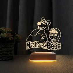 3d Doğum Günü Hediyesi Masa ve Koca Ayı  Çocuk Odası Gece Lambası