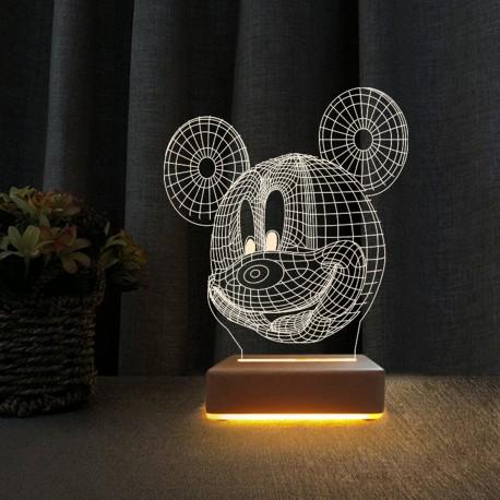 3d Ilizyon Lamba Dekoratif Gece Lambası Çocuk Odası Mickey Fare Gece Lambası