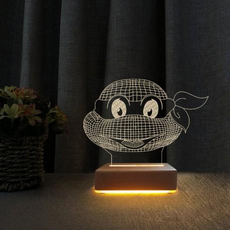 Ninja Kaplumbağa Gece Lambası 3d Çocuk Odası Gece Lambası