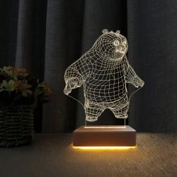 Panda 3d Gece Lambası Çocuk Odası Gece Lambası