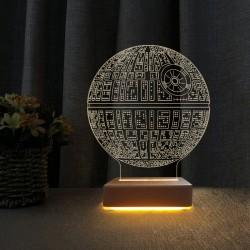 Ölüm Yıldızı Tasarım 3d Star wars Led Lamba Çocuk Odası Gece Lambası