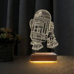 3d Star Wars R2 Robotu Led Lamba Çocuk Odası Gece Lambası