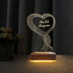 Sevgili Hediyesi Kalpli Gece Lambası Seni Seviyoum Yazılı Lamba