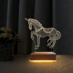 3d Dekoratif Masa Lambası Çocuk Odası Unicorn At Tasarım Gece Lambası