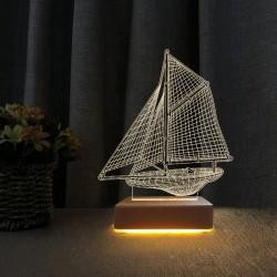 3d Led Gece Lambası Yelkenli Gemi Modeli Masa Lambası