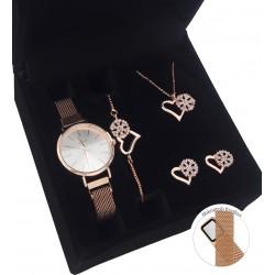 Sevgiliye Hediye Set Rose Hasır Metal Saat Sonsuz Takı Seti Rose Set Ahşap Kutu