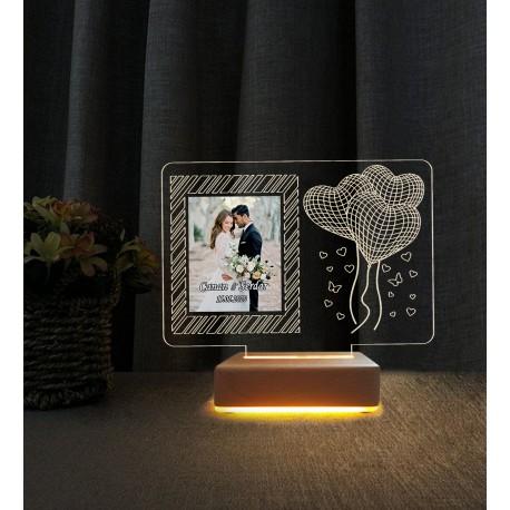 Sevgiliye Hediye 3D Güllü Resimli Gece Lambası İsimli Led Lamba