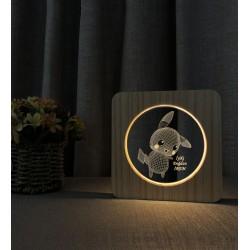 Doğum Günü Hediyesi Pikachu Ahşap Gece Lambası İsimli 3d Led Lamba