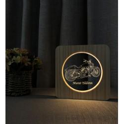 Doğum Günü Hediyesi Harley Motor Ahşap Gece Lambası İsimli 3d Led Lamba