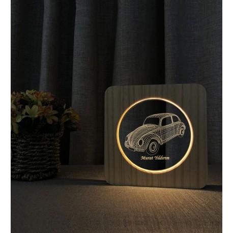 Doğum Günü Hediyesi Klasik Vosvos 3D Ahşap Gece Lambası İsimli Led Lamba