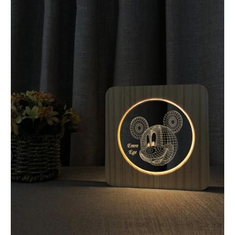 Doğum Günü Hediyesi Miki Fare 3D Ahşap Gece Lambası İsimli Led Lamba