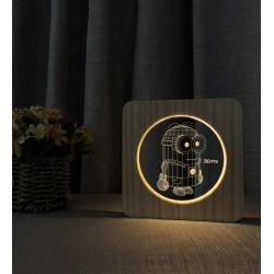 Doğum Günü Hediyesi Minion İsimli Ahşap Gece Lambası 3D İsimli Led Lamba