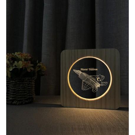 Doğum Günü Hediyesi Türk F16  İsimli Ahşap Gece Lambası İsimli Led Lamba