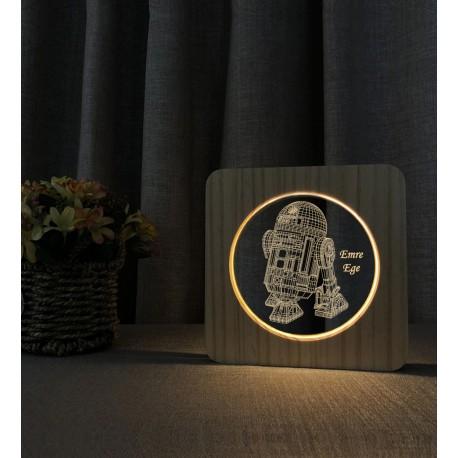 StarWars R2 Robot Doğum Günü Hediyesi Ahşap İsimli Gece Lambası