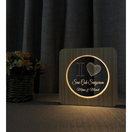 Sevgiliye Hediye love Aşk İsimli 3d Led Gece Lambası Ahşap Masa Lambası