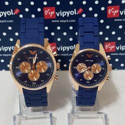 Lacivert-Altın Sevgili Saati - Çift Saatler - hediye saat
